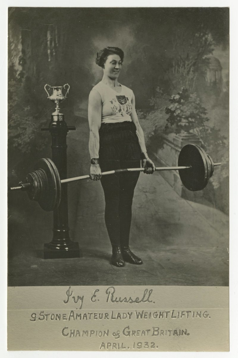 Ivy Russell 9 stone Amateur Lady Weight Lifting Champion of Great Britain